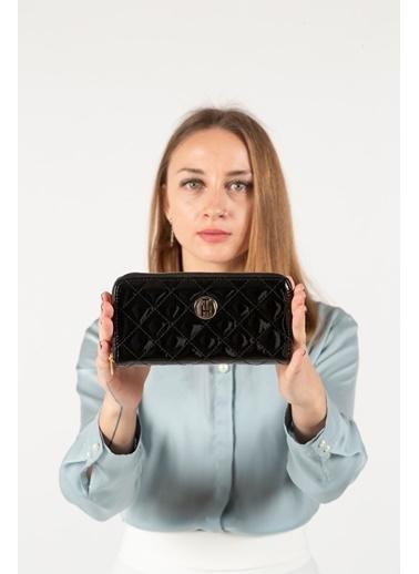TH Bags TH Bags THKC9014 Baklava Desenli Fermuarlı Rugan Kadın Cüzdan Kartlık Siyah